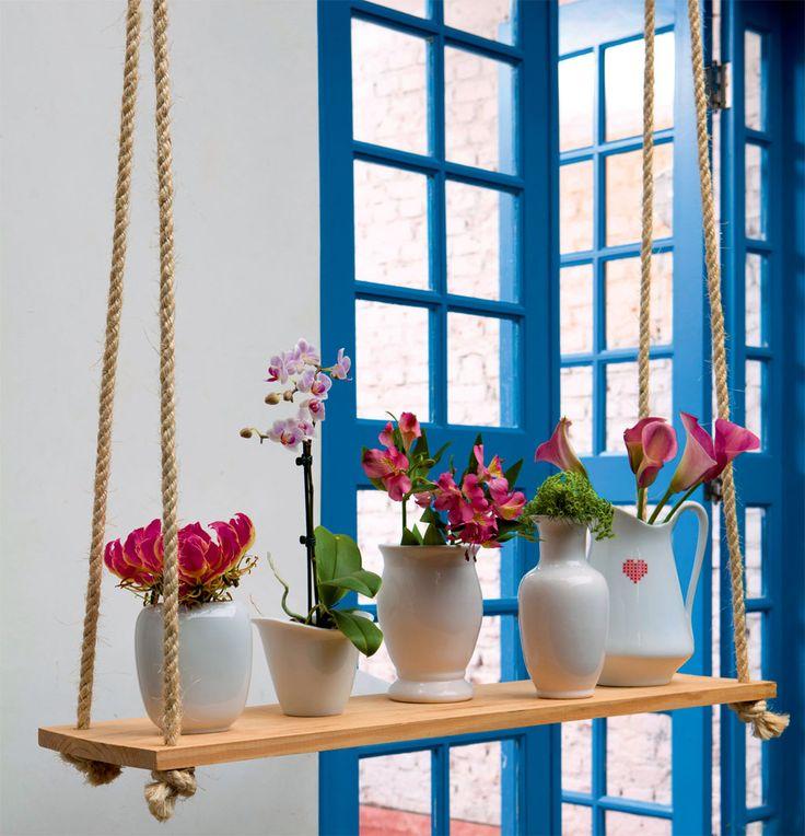 Faça você mesmo: apoio de madeira para vasos de flores.