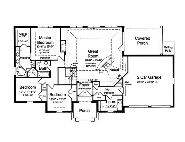 House Plans Open Floor bungalow house plans french