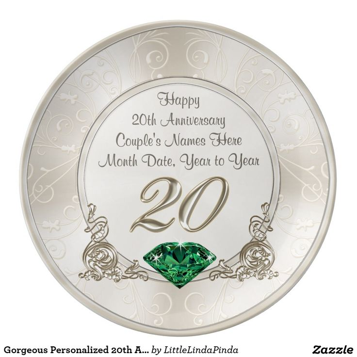 Personalized 20th Anniversary Gifts Plate
