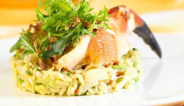 Krabbe med ris.