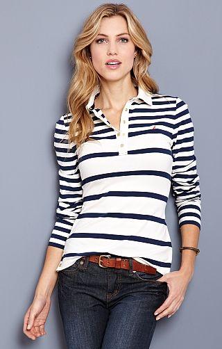 We're a sucker for stripes!    Womens's Side Snap Polo - Nautica.com