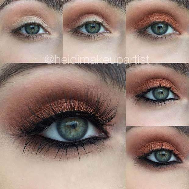 Green Eyes: Copper Eyeshadow + Brown Mascara/Liner Combo