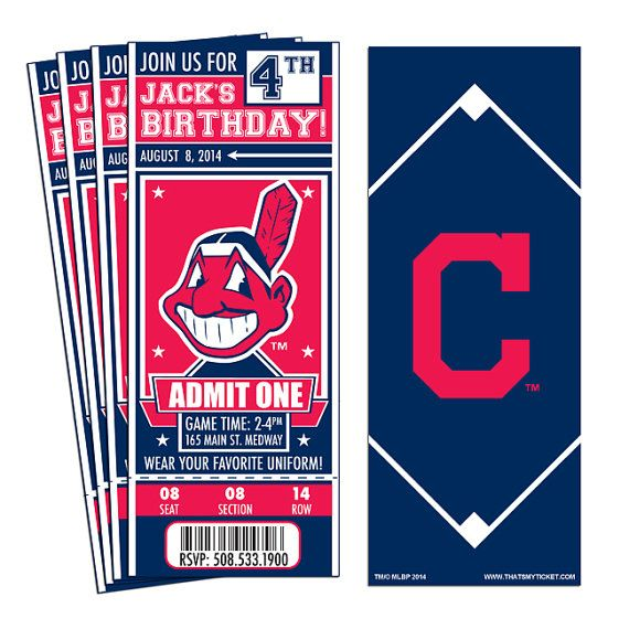 12 Cleveland Indians Custom Birthday Party Ticket Invitations - Officially Licensed by MLB