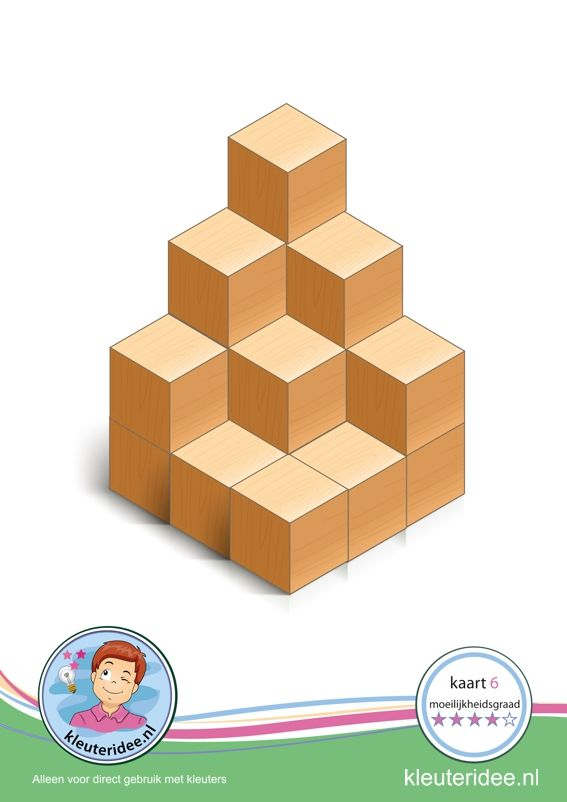 Bouwkaart 6 moeilijkheidsgraad 4 voor kleuters, kleuteridee, Preschool card building blocks with toddlers 6, difficulty 4, free printable.