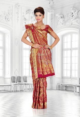 Golden Color Pure Kanchipuram Handloom Silk Saree with Blouse