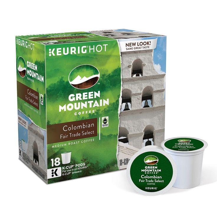 Keurig® K-Cup® Pod Green Mountain Coffee Colombian Fair Trade Select Medium Roast Coffee - 18-pk., Multicolor