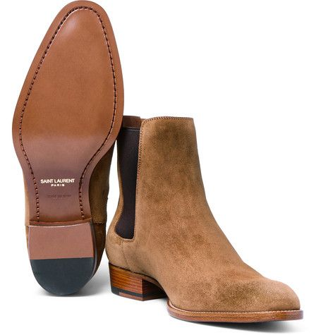 Saint Laurent is known for reinventing the classics. A contemporary take on the traditional Chelsea boot popularised by mods in the '60s, this pair has been crafted in Italy from plush tan suede - a fine alternative to black that will complement a host of smart-casual looks. The elasticated side inserts ensure a comfortable fit.