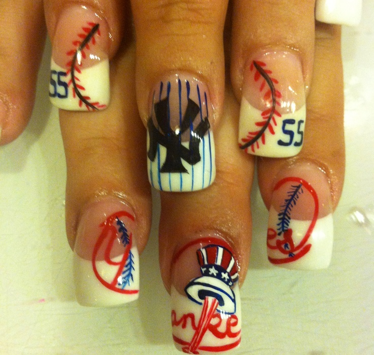 NY Yankees Nails ⚾ my brother would be so happy if I ever did my nails like this