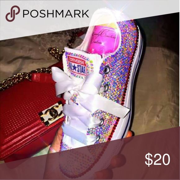 Custom Designed Bedazzled Converse I Sell And Create Custom Converse With Any Color Of Your Choice And It Can Be Shipped Of For $20 but you must provide the shoe !?? Shoes