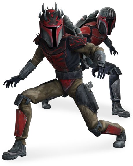 Mandalorian Super Commandos fought for Darth Maul following his takeover of Death Watch during The Clone Wars.