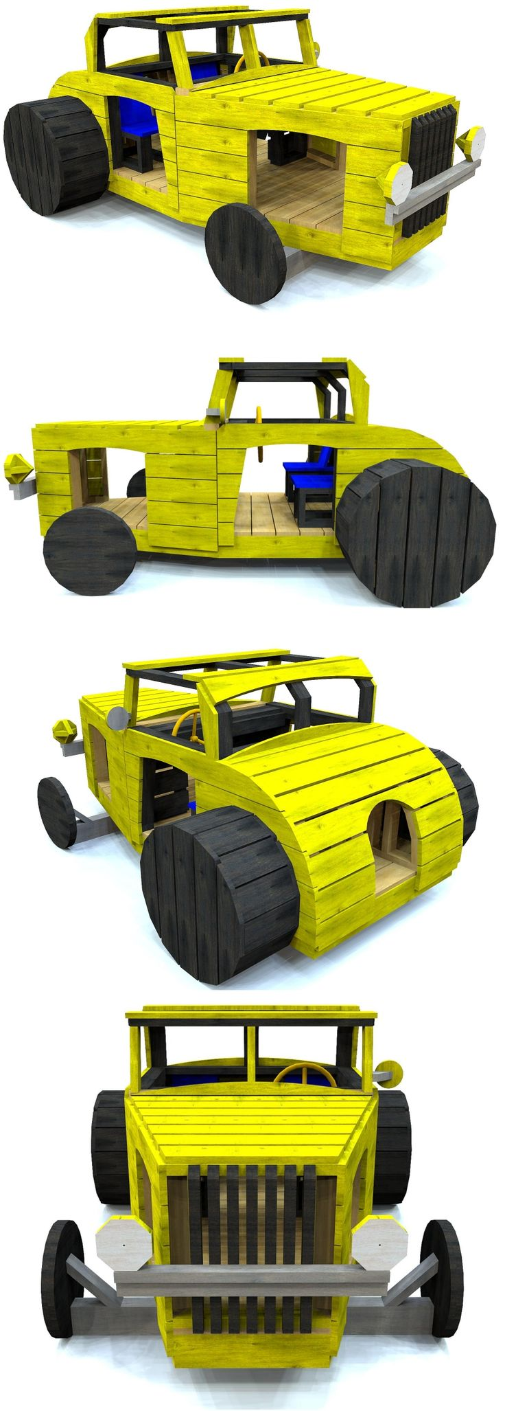 Wooden, two person hot rod play-set for kids aged 3-8. Buy the plans at Paulsplayhouses.com