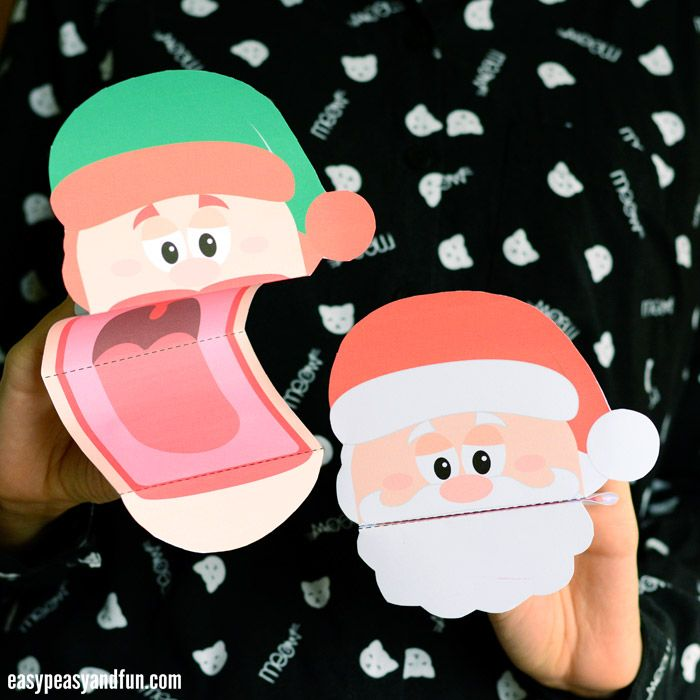 Printable Christmas Puppets Santa Elf And Reindeer