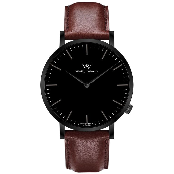 A round black case with classically curved lugs,elegant hue, the black hands match the case colors and underscore their prominent design,color-coordinated leather strap, inimitable and upscale watch.