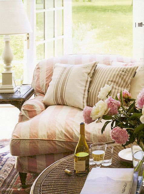 {a new month | of may & summer days to come . . . } by {this is glamorous}Decor, Cottages Style, Summer Day, Pink Stripes, Soft Pink, Shabby Chic, Living Room, Comfy Couch, White Wine