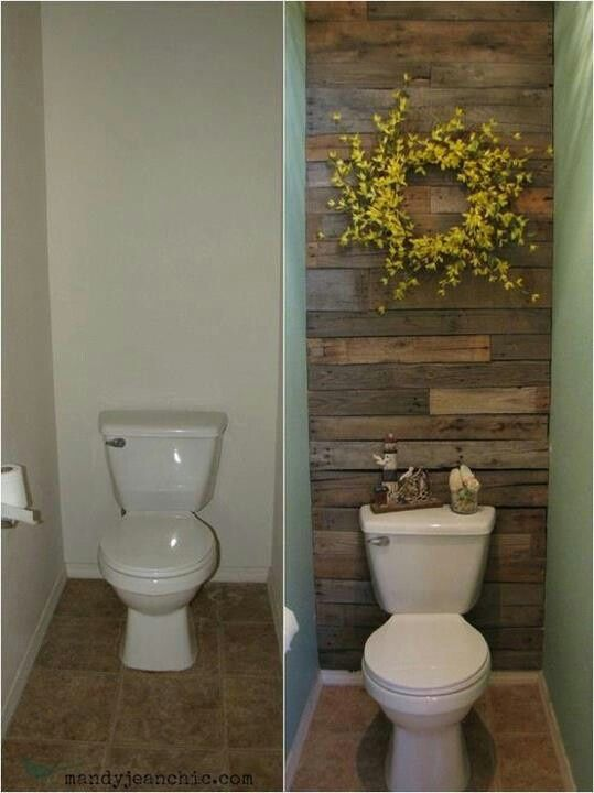 Add wood planks to the wall behind the toilet in a guest bath or half bath.