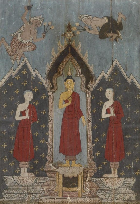The Buddha with his disciples Sariputta and Moggalana, 19th C. (Rattanakosin) Thailand.