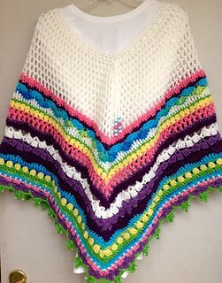 Rainbow Sampler Poncho - Free crochet pattern by Mary Garrow. One size (ladies S - L approx) with info on making a larger size. Worsted weight yarn.