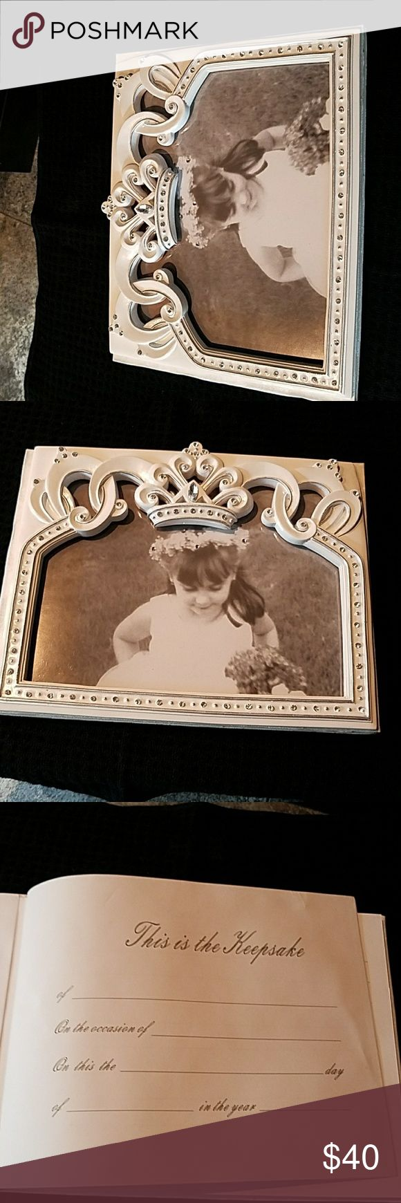Crown  Wedding Guest  Book New never used.   The perfect guest book and pen set for a beautiful princess! Each enchanting accessory item is made of durable poly resin material with lovely tiara shaped designs accented with perfectly placed clear crystals. Other