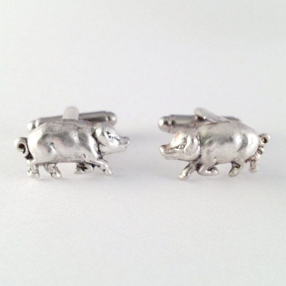 Bacon Men's Silver Metal Pig Cufflinks New Pair of by Lynx2Cuffs, $17.99