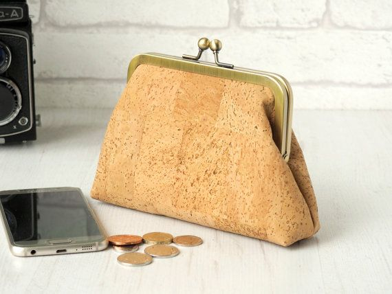"Cork fabric evening bag with turquoise lining | clutch purse | Cork ""leather"" bag 