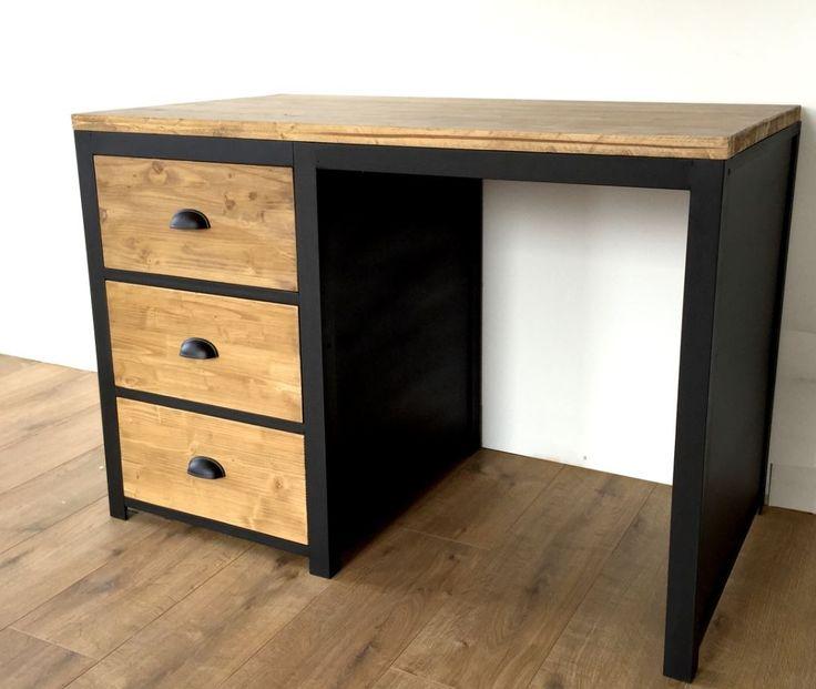 Bureau style loft en bois et acier 3 tiroirs : Meubles et ...
