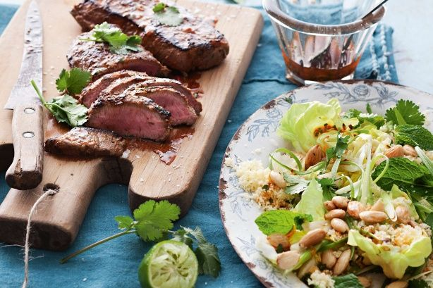 Serve Moroccan flavoured lamb with a zesty salad to match. It will spice up your barbecue.