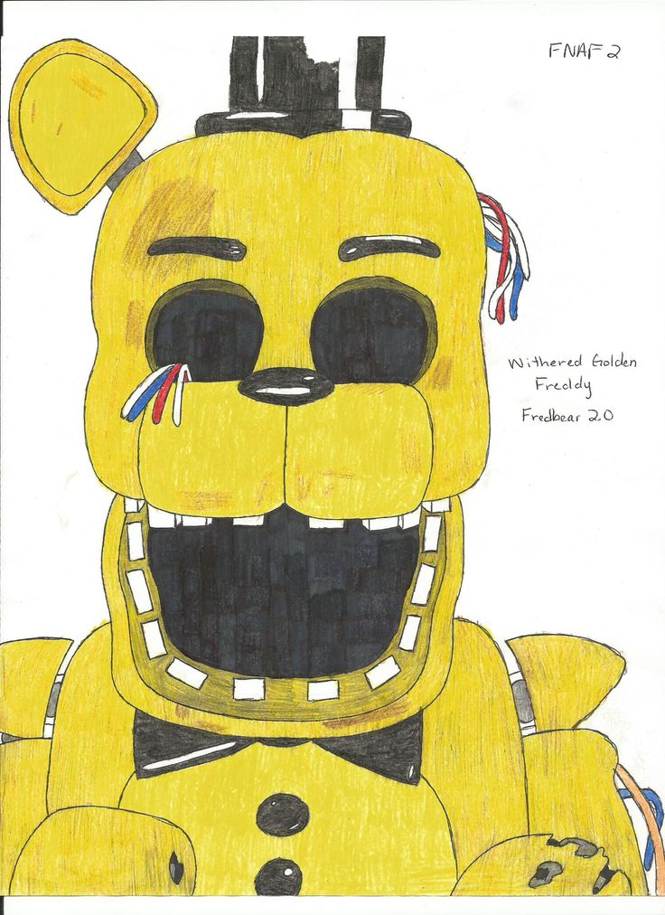 Withered golden freddy Fnaf drawings, Fnaf coloring