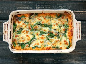 Sweet Potato Vegetarian Lasagna - Sweet potato mix, Eggplant, spinach topped with mozzarella and parmesan cheese. Easy, healthy and delicious!