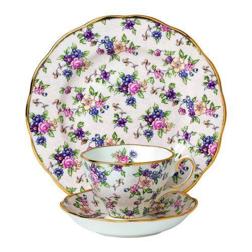 "Royal Albert 3 Piece 100 Years 1940 Teacup, Saucer & Plate Set, 8"""", Multicolor"
