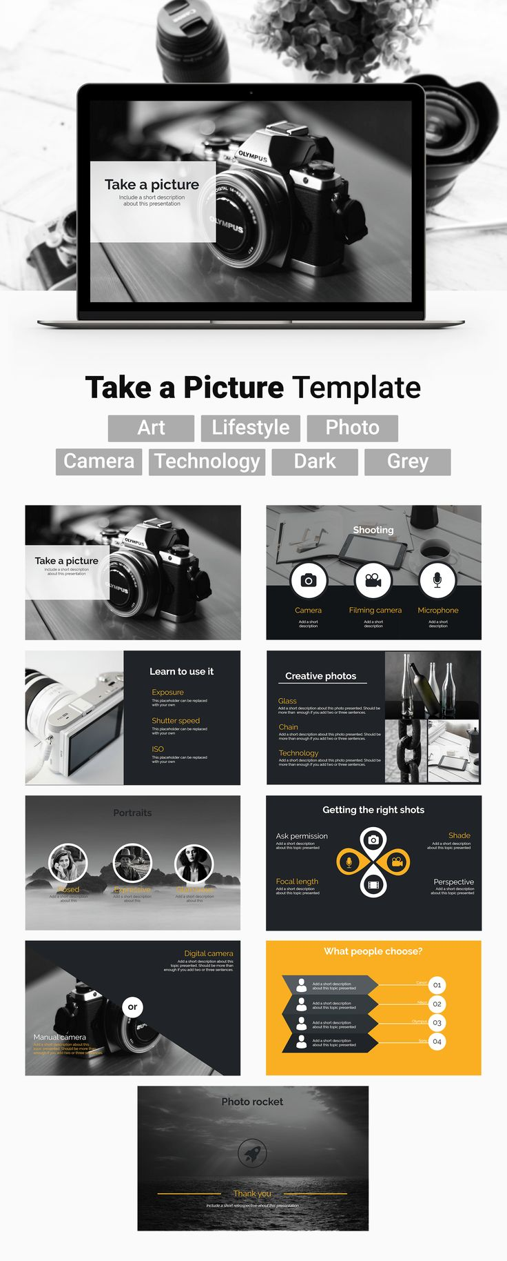 This template Thursday it's all about your passion for #photography. 'Take a picture', add it on a slide and share it with the world.