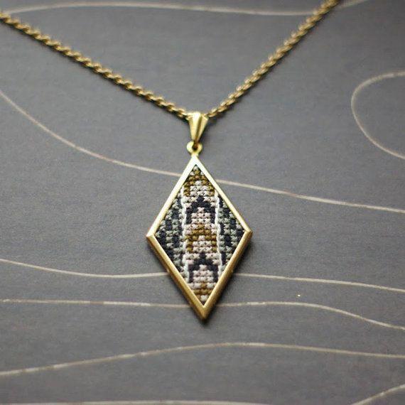 Modern cross stitch necklace/ pendant by TheWerkShoppe on Etsy, $36.00