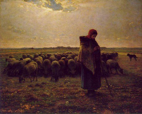 Titel: Schaapsherderin met haar kudde Kunstenaar: Jean- François Millet Datum: 1864 Materiaal: Olieverf op doek Museum: Onbekend Stroming: Realisme
