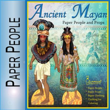 This Paper People packet includes two Ancient Mayan paper dolls, plus several household items, a household pet, a setting piece, and clothing images. One page is intended as a coloring sheet. There are a total of 6 printable pages (not counting the cover and read me page).Each of these paper people (or paper dolls) is an original art piece.