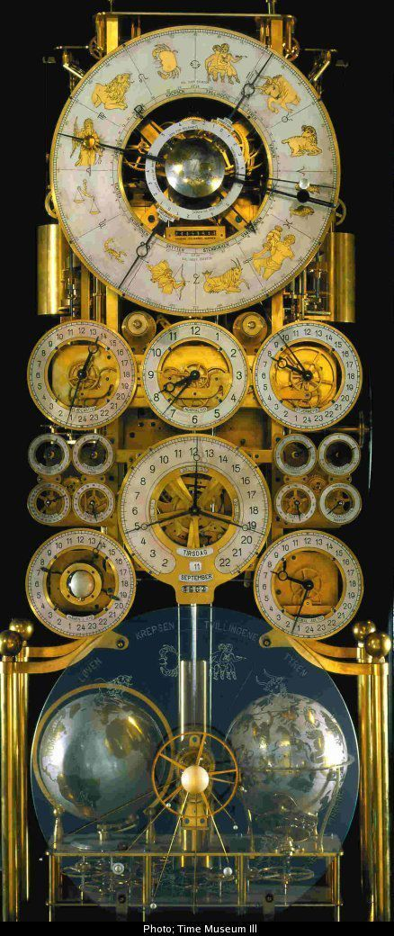 """ollebosse: """" The """"Clock No. 4"""" by Rasmus Sørnes Apart from the pendulum it was entirely handmade, as were his tools. It includes: locations of the sun and moon, Julian calendar, Gregorian calendar, sidereal time, GMT, local time with daylight saving..."""