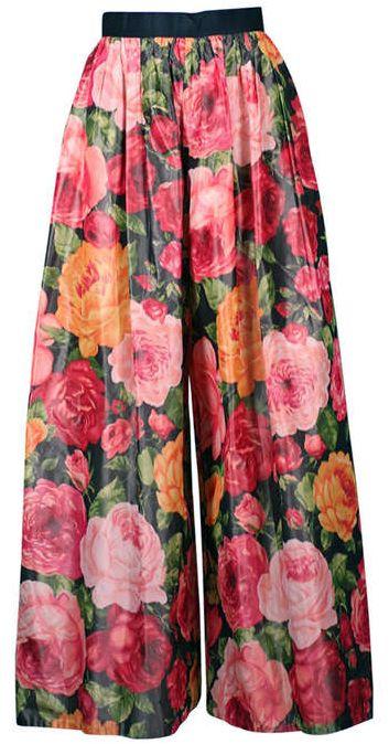 Bill Blass - Jupe Culotte - Taffetas Imprimé Floral - Tons Rose - Années 80