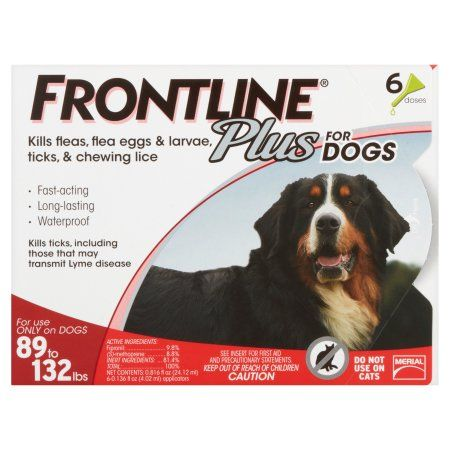 Merial Frontline Plus Flea and Tick Control for Dogs 89 to 132 lbs, 0.136 fl oz, 6 count