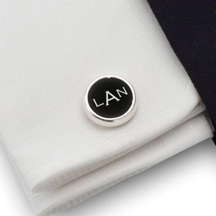 Spinki do koszuli z monogramem na Onyksie | srebro 925 | Dostępne w 10 czcionkach | ZD.106