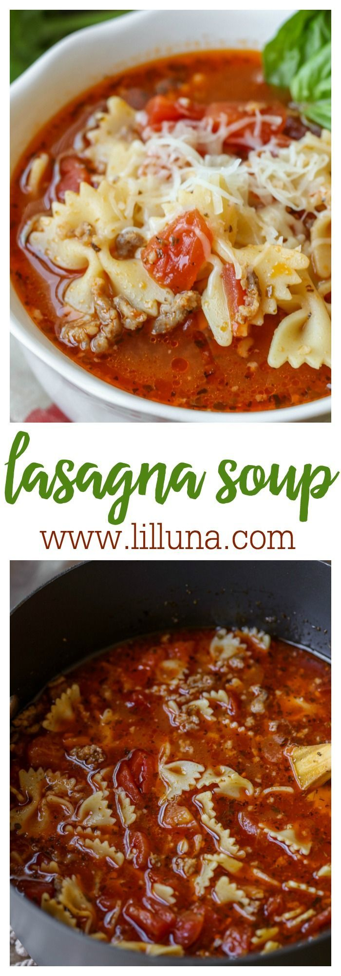 Lasagna Soup - filled with pasta, Italian sausage, diced tomatoes, and lots of yummy seasonings! Served with a ricotta and parmesan cheese mixture at the bottom of your bowl, this soup is just like lasagna!!