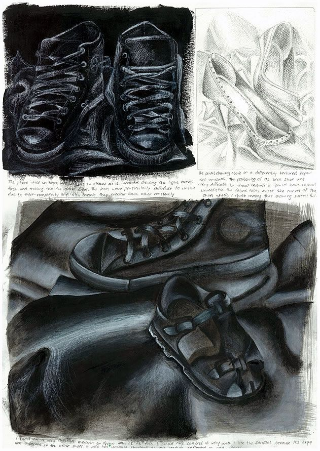 IGCSE Art student sketchbook page - black and white drawings of shoes by Nikau Hindin
