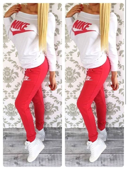 #pants #shirt #nike Stylish womenu0026#39;s red and milky sweatsuit | Nike u0026 Adidas | Pinterest ...