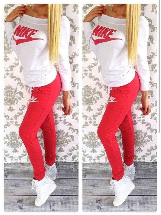 #pants #shirt #nike Stylish women's red and milky sweatsuit