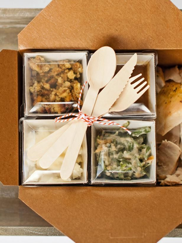 Bento box to take home. (Homemade!) Fast Food - Tips for Hosting a Thanksgiving Potluck Dinner, Plus How to Set Up a To-Go Station on HGTV