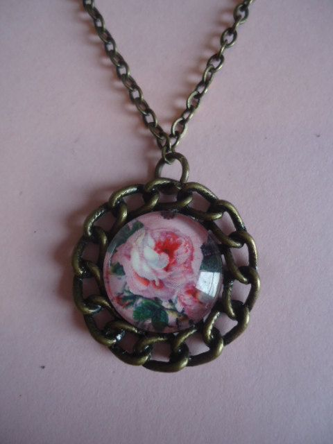 Pink Rose Necklace by TallulahStack on Etsy, $8.00