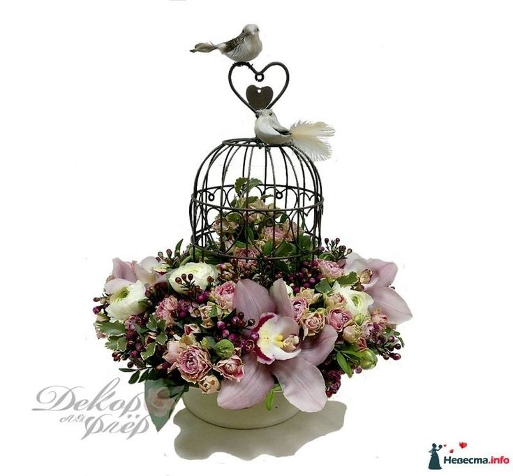 """Свадебная композиция """"Птичка в клетке"""" - фото 418592 Декор ля флер - цветы и декорации"""
