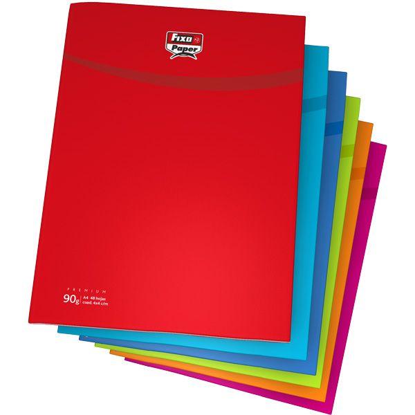 Cuadernos Fixopaper con encuadernación de grapa. Todas las hojas interiores cuadriculadas (4mm con margen). #fixo #grafoplás