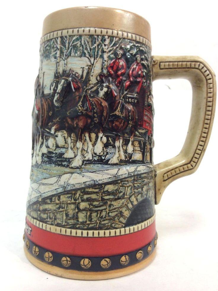 Budweiser Clydesdale Cobblestone Passage 1988 Ceramarte Beer Holiday Stein