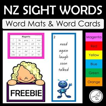Word mats and word cards for words at the Magenta to Orange level of the colour wheel. Word Mats: * provided in black/white or with a coloured border. * one A4 size mat for each level. Word Cards: * 5 words on each card for