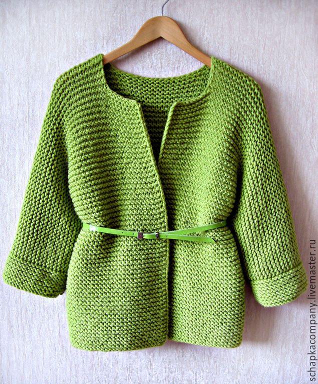 Купить Кардиган Kimono - оливковый, кардиган вязаный, платочная вязка, кимоно, цельновязаный, oversize, зеленый