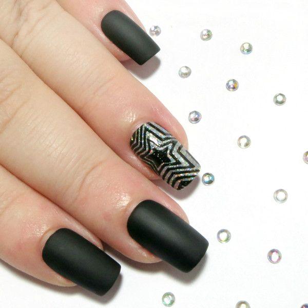Hand Painted Fake Nails - Matte Black & Silver Holo Glitter Stars - Medium Square Stick On Nails