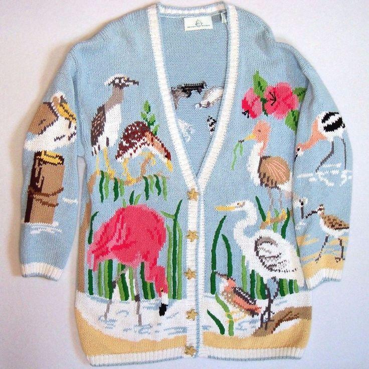 Design Options Cardigan Sweater  XL Beach Birds Starfish Buttons! Blue Long #DesignOptions #Cardigan